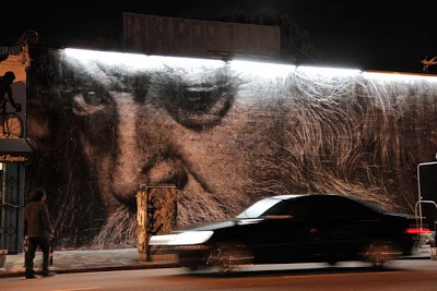 """JR New Mural In Melrose Los Angeles """"Wrinkles of the City Project"""" Day 4"""
