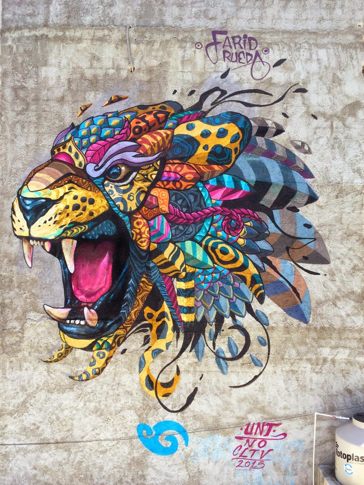 "Farid Rueda paints ""Balam"", a new piece in Playa del Carmen, Mexico"