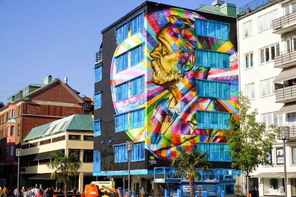 Kobra unveils a giant portrait of Alfred Nobel for No Limit Boras in Sweden