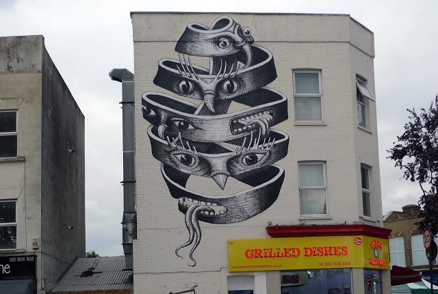 Phlegm creates a new piece in London, UK