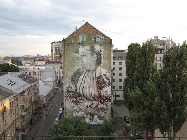 """Lilly Of The Valley"", a large mural by Guido Van Helten in Kiev, Ukraine"