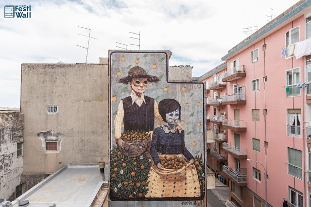 Pixel Pancho paints a new mural in Ragusa, Sicily