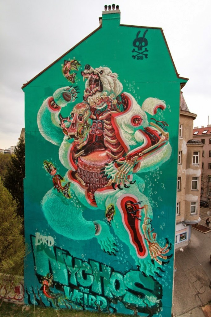 "Nychos ""Dissection Of A Polar Bear"", a 5 stories piece in Vienna, Austria"