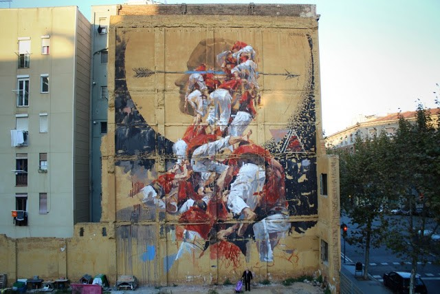 "Borondo creates ""Fer Lenya"", a new mural in Barcelona, Spain"