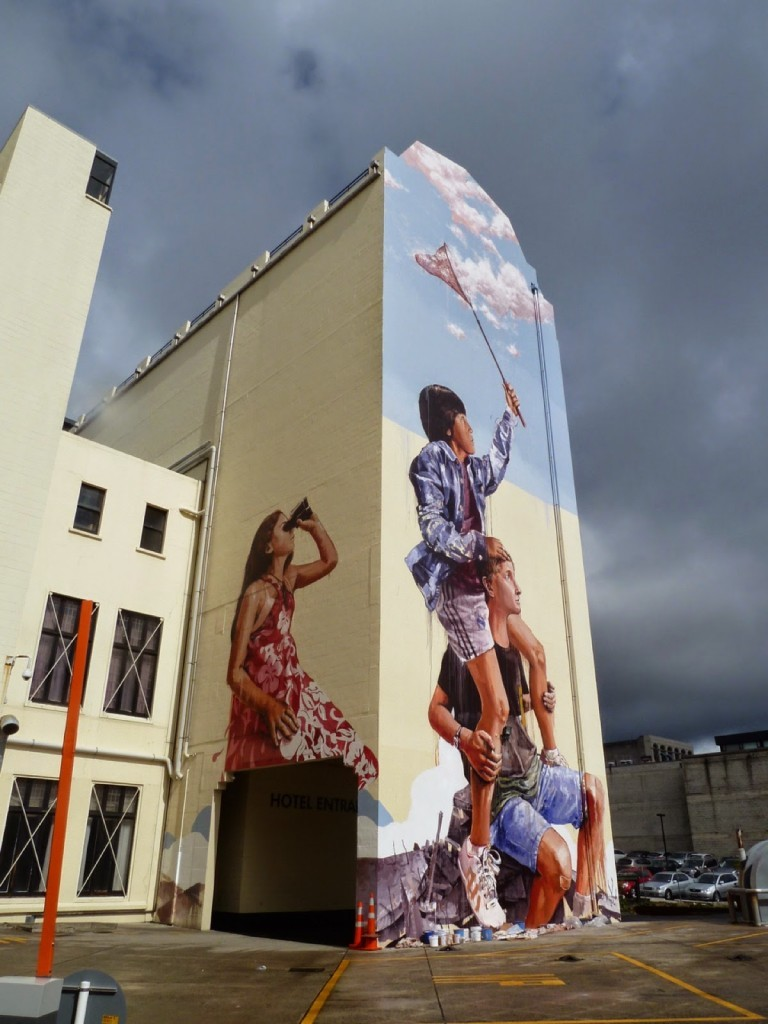 Fintan Magee creates a new mural in Dunedin, New Zealand