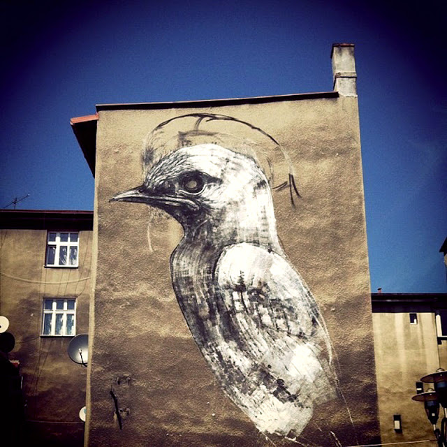 ROA New Mural In Progress, Katowice