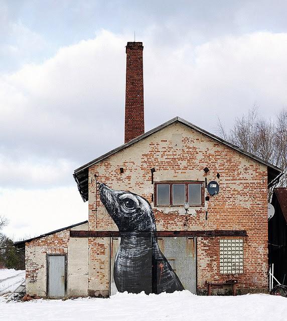 ROA New Mural In Stockholm, Sweden