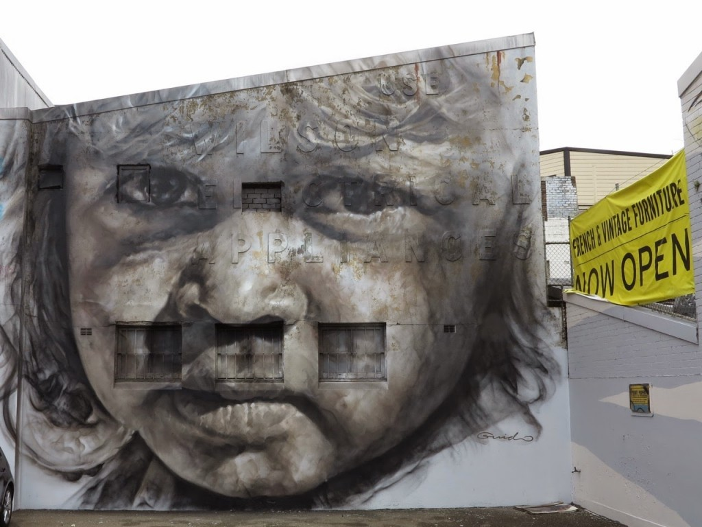 Guido Van Helten paints a new portrait in Redfern, Australia