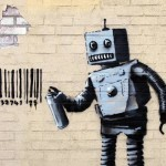 "Banksy ""Tagging Robot"" New Street Piece – Coney Island"