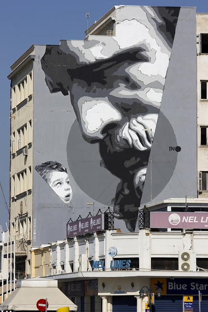 """We Have The Power"", a new mural by iNO in Piraeus Port, Greece"