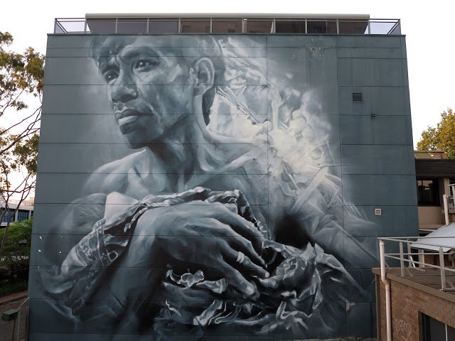 Guido Van Helten creates a new mural in Wollongong, Australia