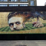 Martin Ron paints a new piece at Truman Brewery, London