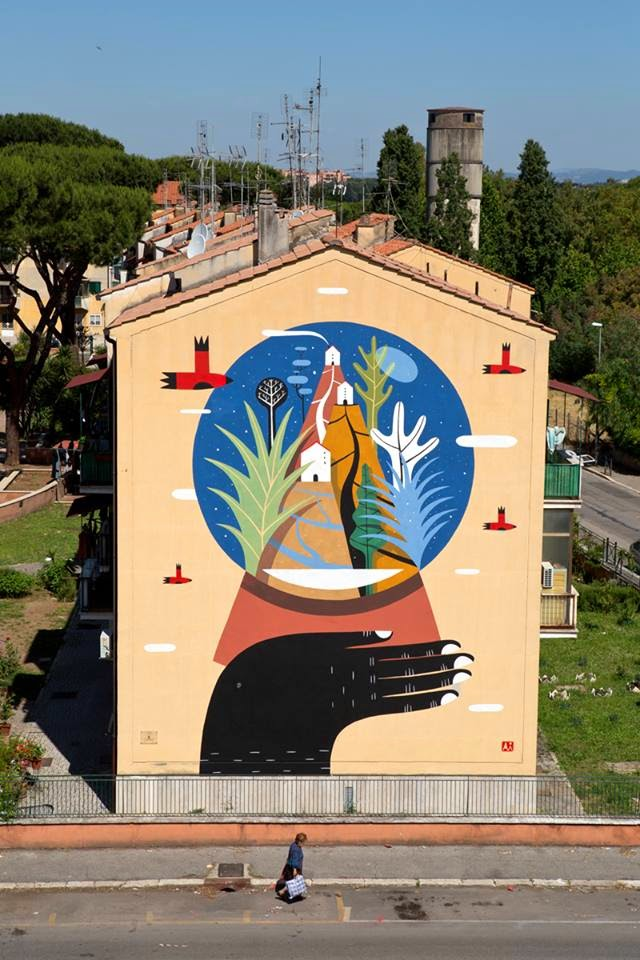 Agostino Iacurci New Mural For Sanba - Rome, Italy (Part II)