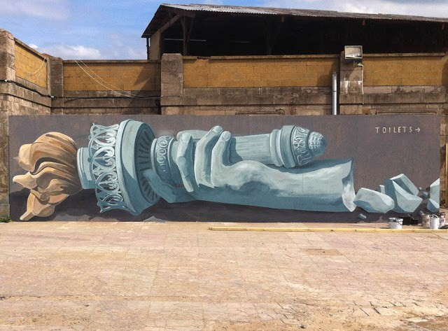 """American Piss (Peace)"" a new piece by Escif at Dismaland in Weston-Super-Mare, UK"