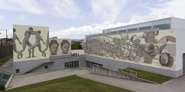Aryz paints a large triptych mural in Carballo, Galicia