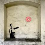"""OakOak paints """"Banksy Vs Homer"""", a new street piece in Saint Etienne, France"""