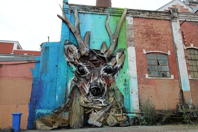Nuart '15: Bordalo II creates an impressive installation in Stavanger, Norway