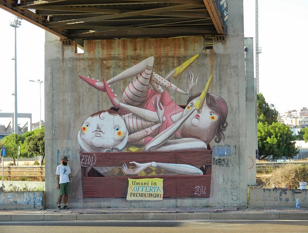 "ZED1 ""Humans On Sale"" New Mural – Cagliari, Italy"