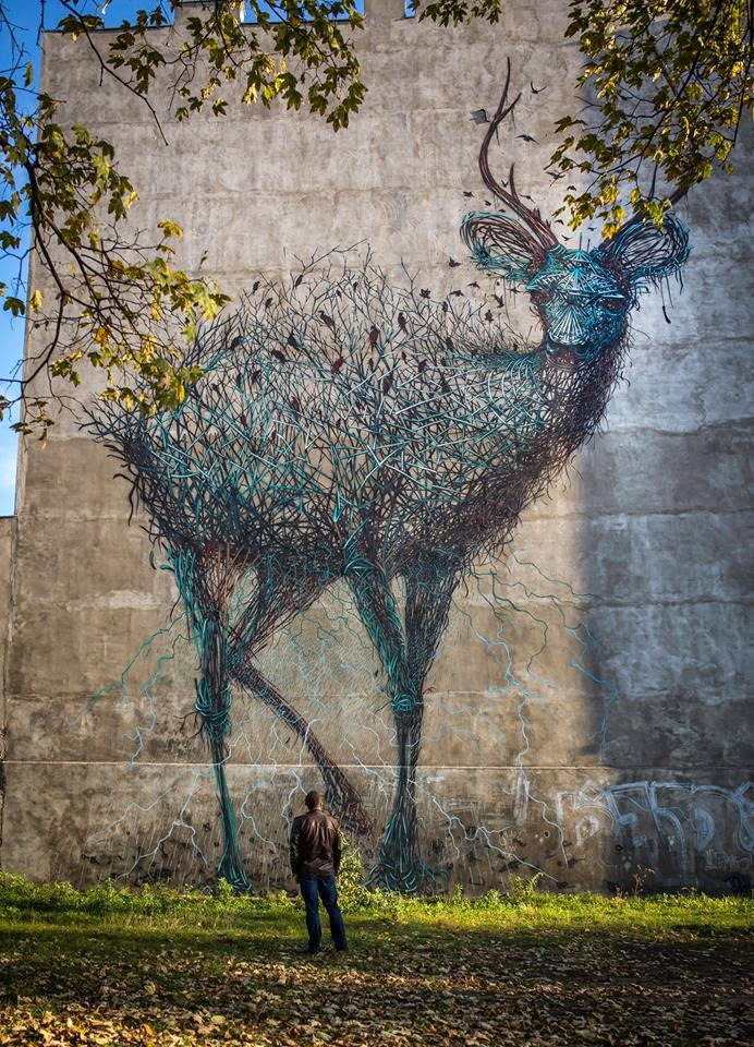 DALeast creates a new mural for Urban Forms in Lodz, Poland