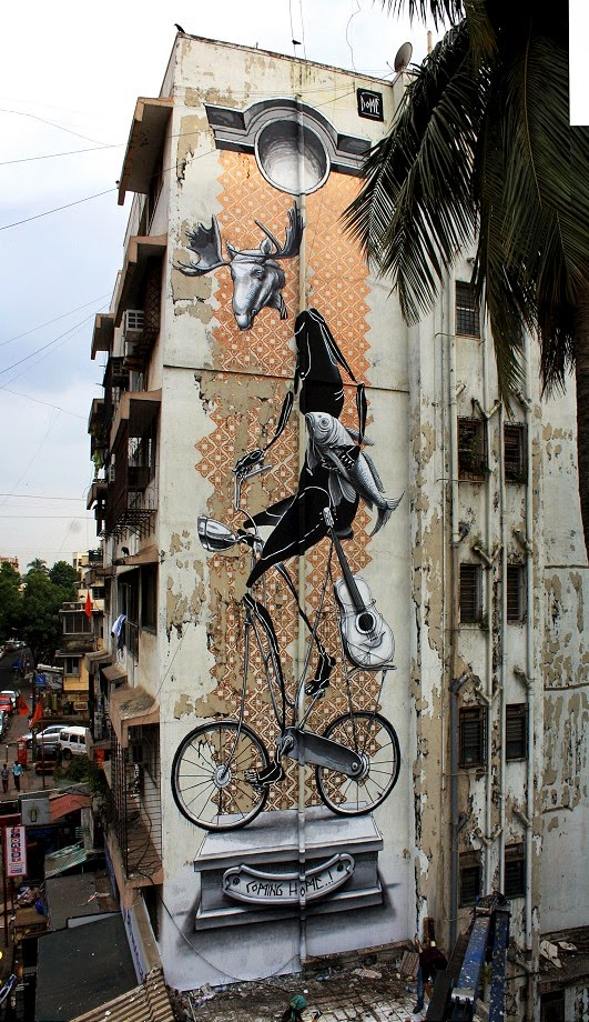 Dome paints a fantastic mural in Mumbai, India