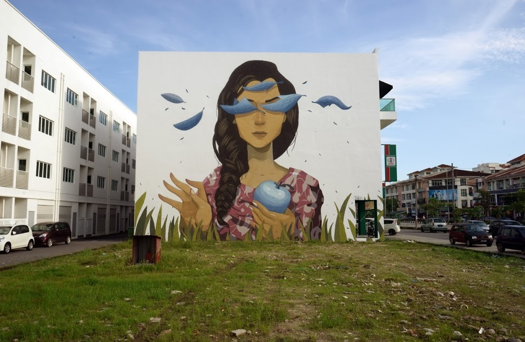 Sabek paints new murals in Penang, Malaysia