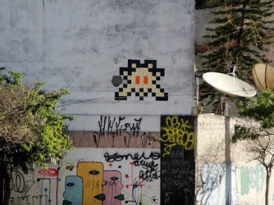 Invader New Street Pieces In Sao Pãulo, Brazil
