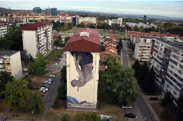 """Icarus"", a new mural by Etam Cru in Banja Luka, Bosnia & Herzegovina"