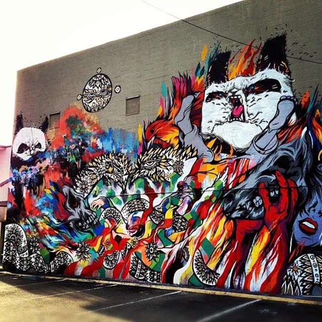 Meggs x Peap Tarr x Will Barras x Mr Jago x Angry Woebots New Mural In Honolulu, Hawaii