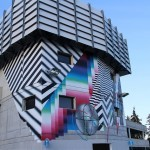 Felipe Pantone paints a new mural in Crans-Montana, Switzerland