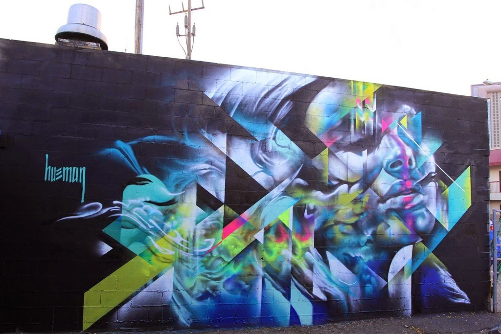 Pow! Wow! '15: Hueman paints a new piece in Honolulu for 1XRUN