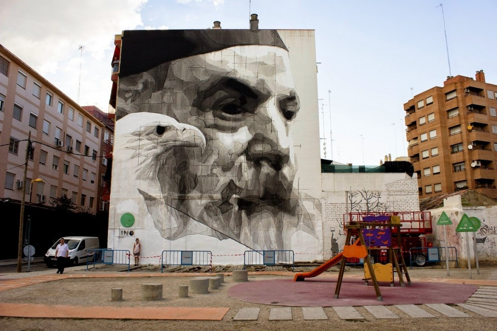"iNO ""Predators"" mural for Asalto Festival In Zaragoza, Spain"