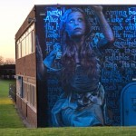 "Irony and Frank Styles paint ""Alice in Wonderland"", a new mural in South Shields, UK"