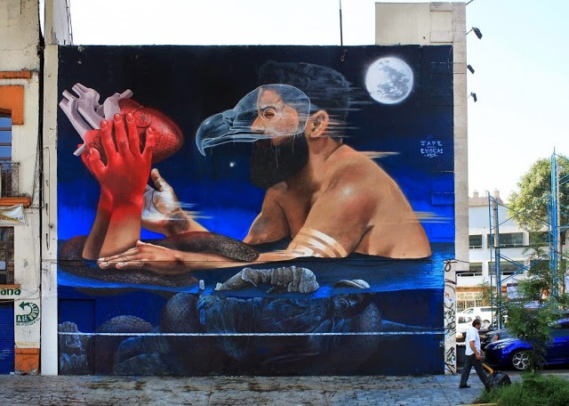 JADE & Evoca1 collaborate on a new mural in Mexico City