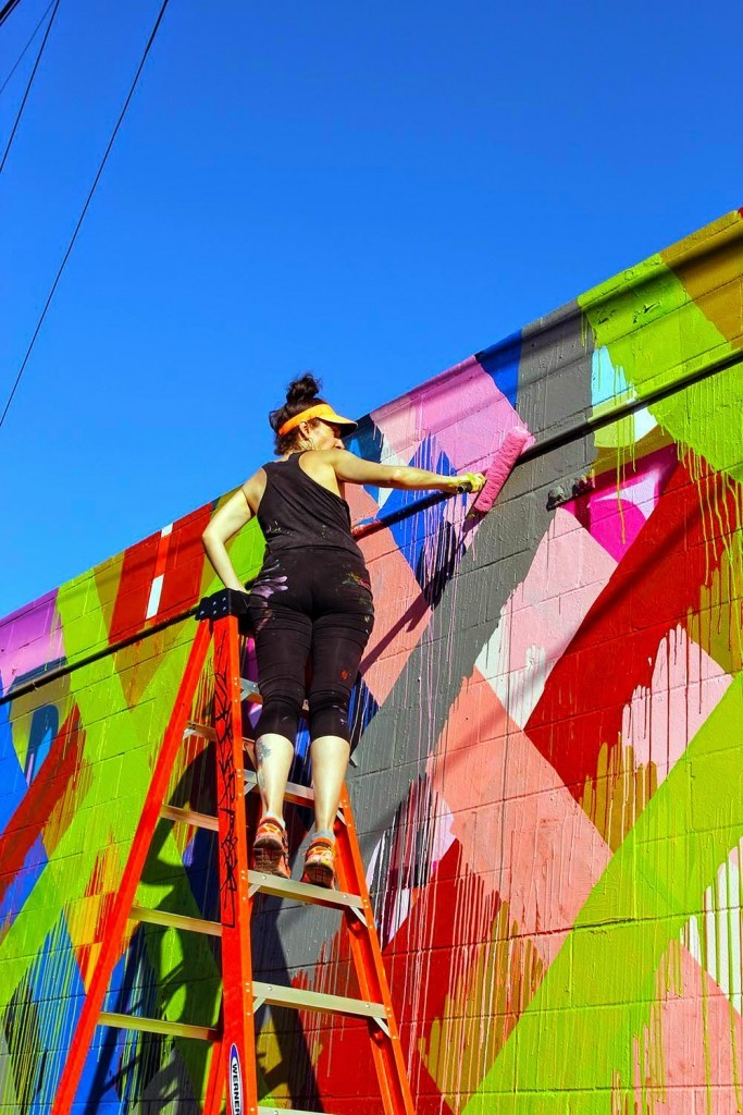 Pow! Wow! Hawaii 2015: Work In Progress by Maya Hayuk in Honolulu