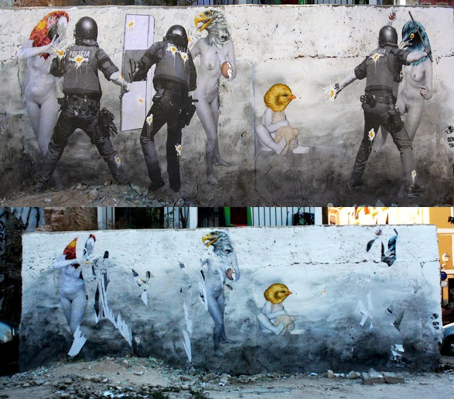 "Vinz ""Don't Be Afraid"" New Mural In Valencia Destroyed By The Police"