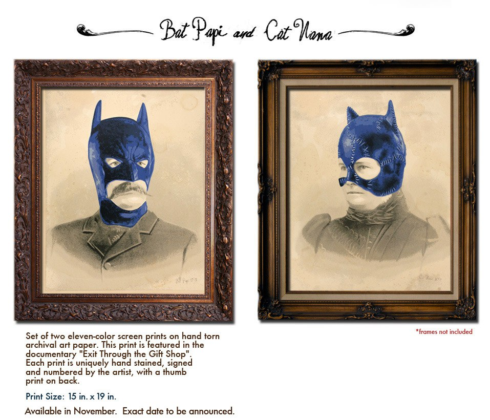 Mr Brainwash Bat Papi & Cat Nana Prints