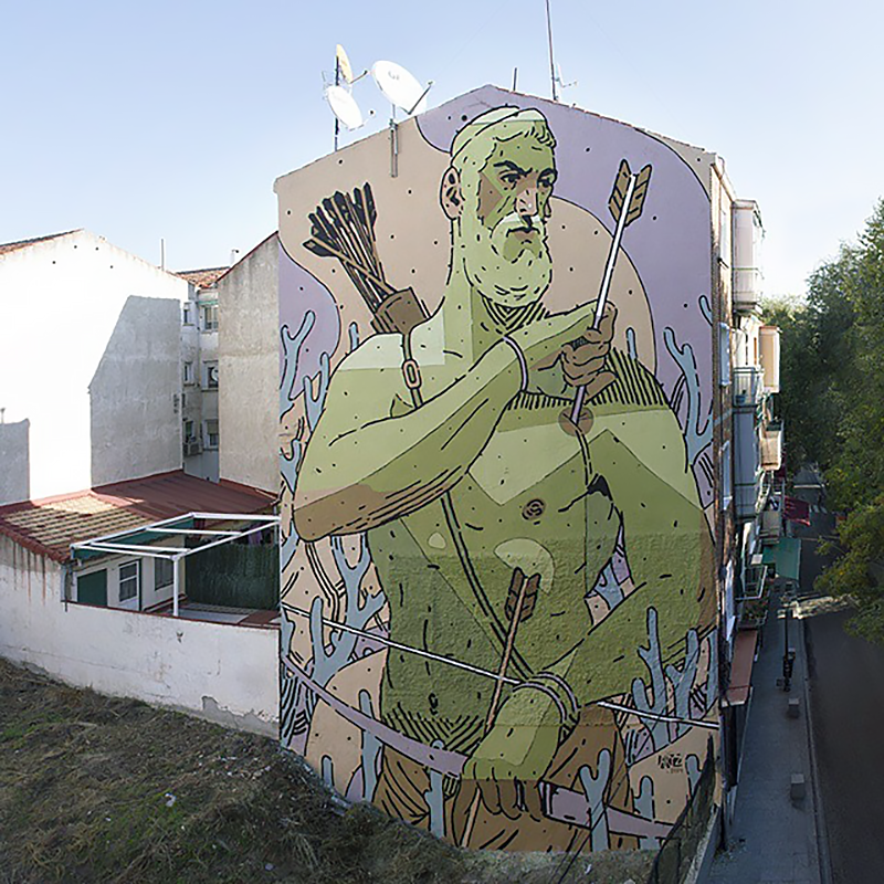 Aryz unveils a massive mural on the streets of Madrid, Spain