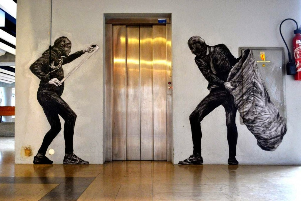 """Levalet unveils """"Abduction"""", a new indoor piece in Chatenay-Malabris, France"""