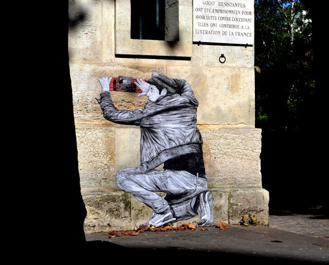 """Liberation"", a street piece by Levalet in Paris, France"