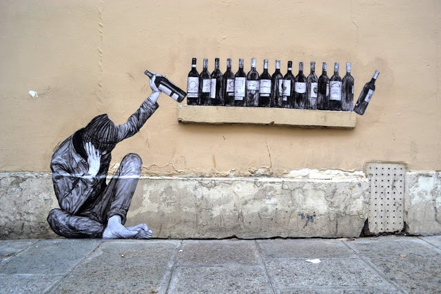 """One Too Many"", a new piece by Levalet in Paris, France"
