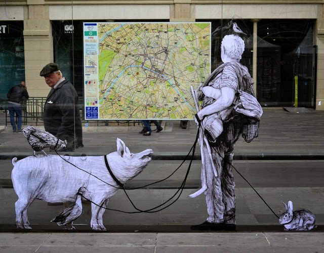 """Exodus"" a new street piece by Levalet in Paris, France"
