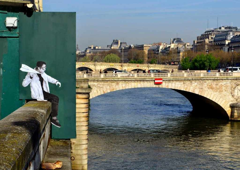 "Levalet unveils ""Crash Test"", a new piece on the streets of Paris, France"