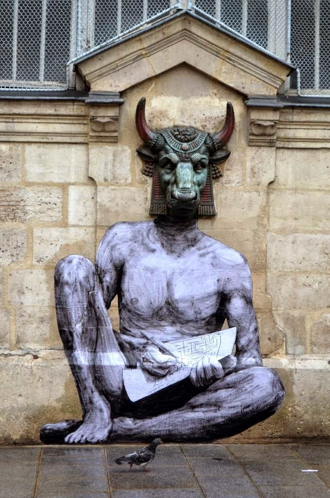 "Levalet creates ""Minotaur"", a new piece on the streets of Paris, France"