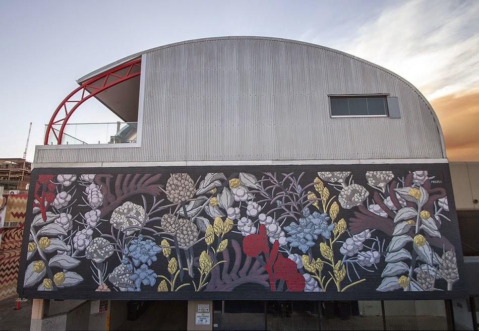 Pastel creates a new floral mural for Public '15 in Perth, Australia