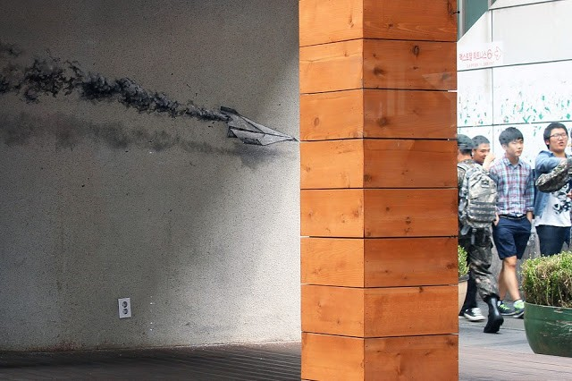 Pejac paints a series of new works in Seoul, Korea