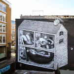 Phlegm creates a new mural in East London, UK