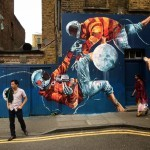 """Fintan Magee """"Two Men Fighting Over the Moon"""" New Mural – London, UK"""