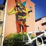 Pixel Pancho New Mural In Progress, Bassano del Grappa, Italy
