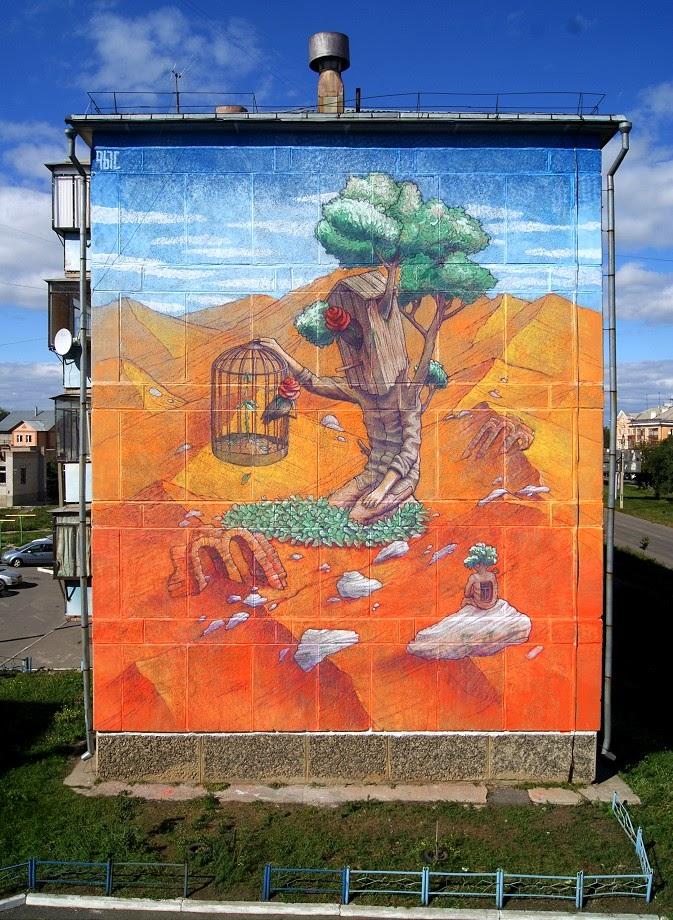 Rustam Qbic New Mural - Magnitogorsk, Russia