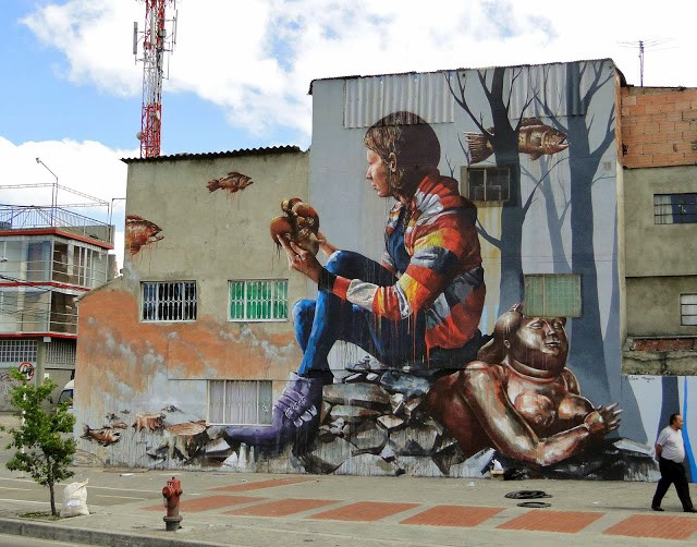 "Fintan Magee ""The Artifact"" New Mural - Bogota, Colombia"